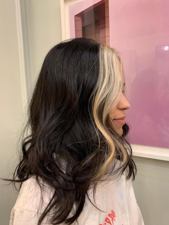 Strähnen mit braune haare hellen Schwarze Haare