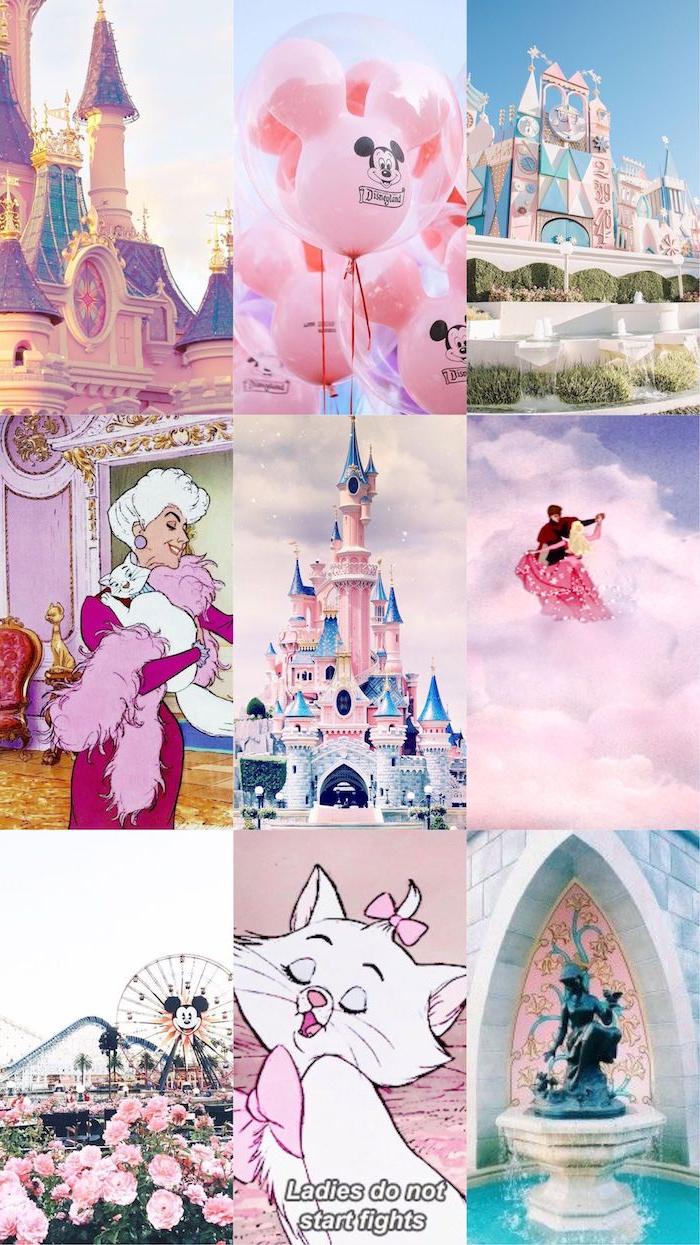 collage disney figuren aschenputtel mickey mouse disney schloss pink aesthetic wallpaper süße hintergrundbilder disney