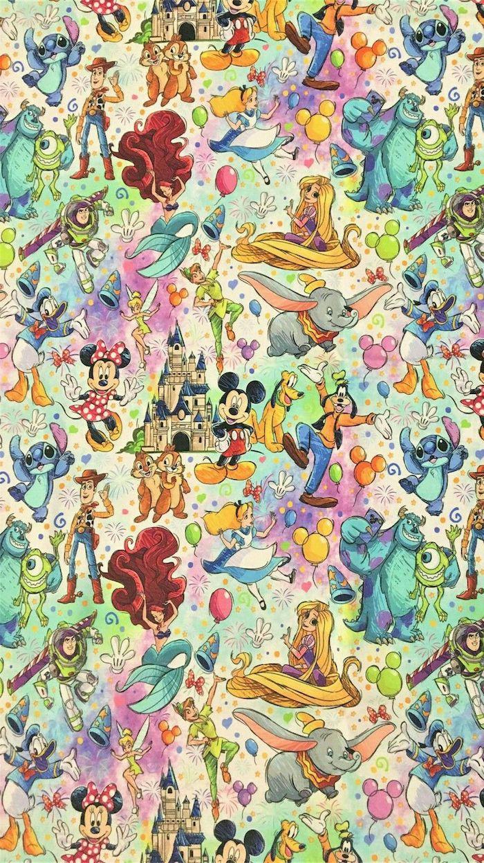 collage mit disney figuren mickey mouse goofy arielle die kleine meerjungfrau dumbo pluto peter pan alice stitch chip und dale donald duck süße hintergrundbilder