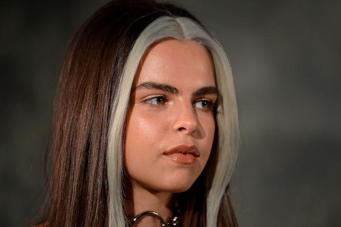 dunkel braune haare mit blonden strähnen vorne mittellange frisur haarfarbe inspiration trendige farben braune haare mit strähnen