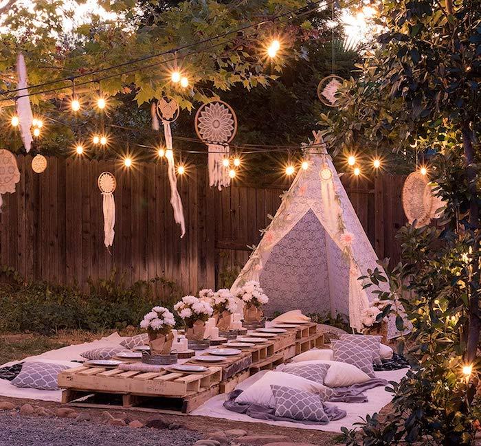 kleine und große traumfänger deko garten schöne gärten bilder niedriger esstisch aus paletten boho chic zelt deko