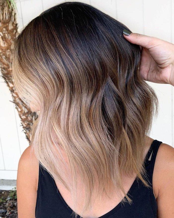 Strähnen schwarze haare blonde Blonde haare