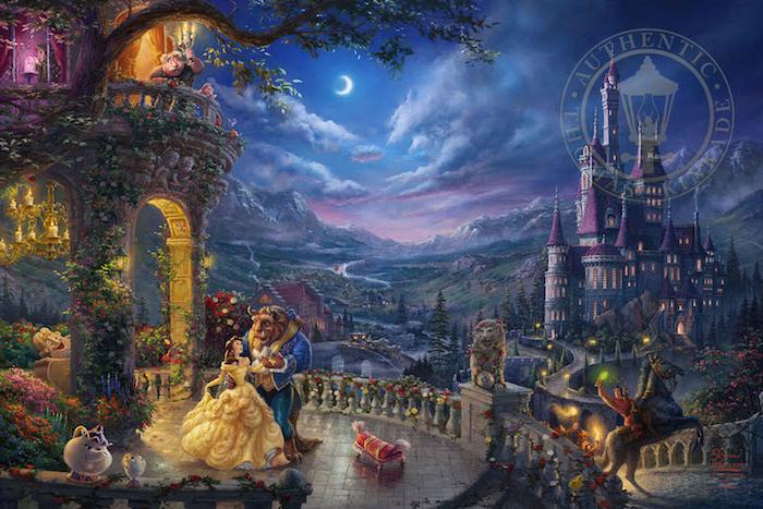 magisches-land-mit-einem-schloss-die-schöne-und-das-biest-belle-im-gelben-kleid-cartoon-hintergrundbilder-disney