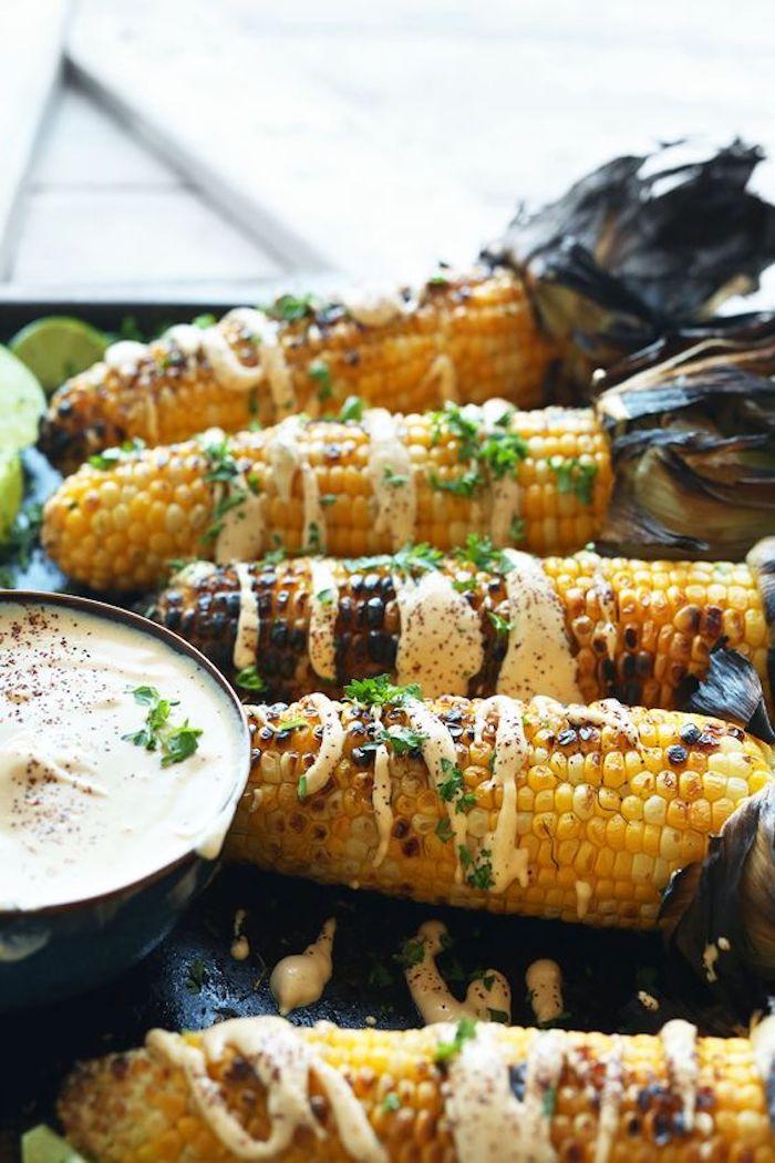 maio und frische petersilie mais grillen beilagen zum grillen schnell gemaccht beilagen ideen