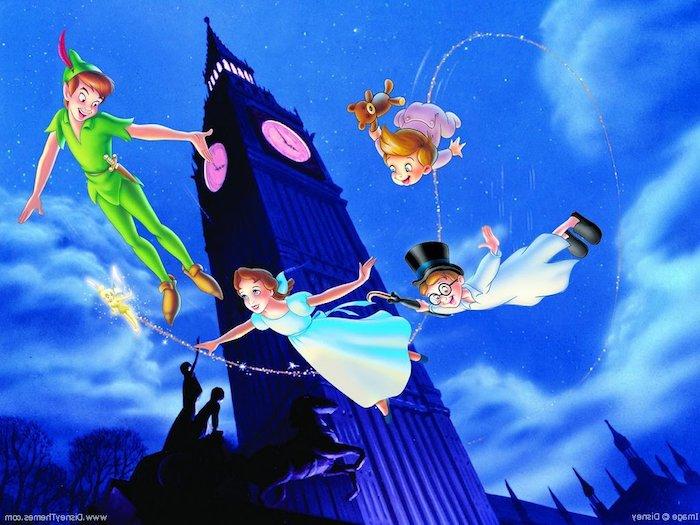 peter pan wendy michael john fliegen über london big ben uhr süße hintergrundbilder disney pc desktop