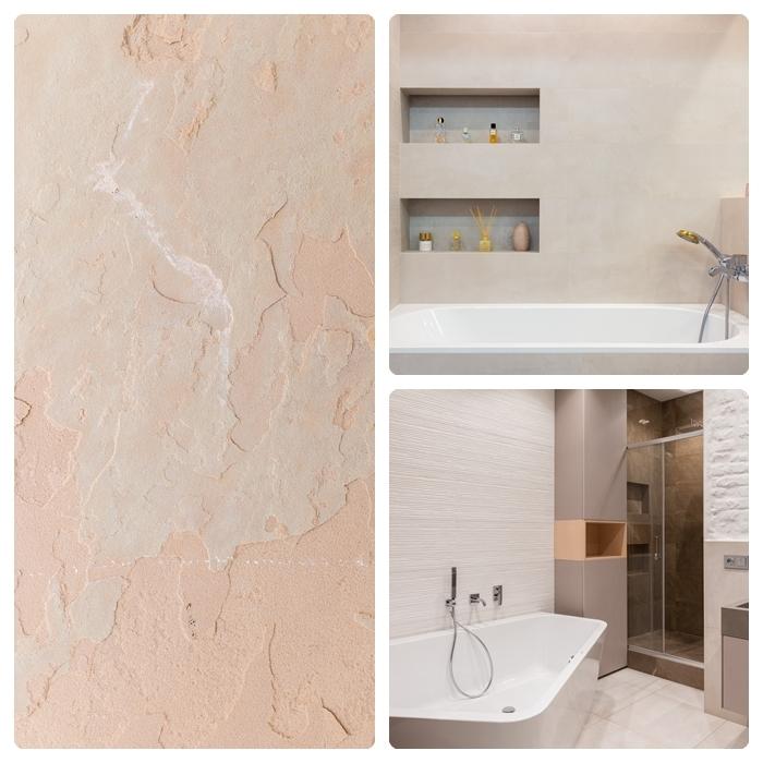 sandsteintapeten wand gestalten trendige wandgestaltung badezimmer einrichten badeinrichtng