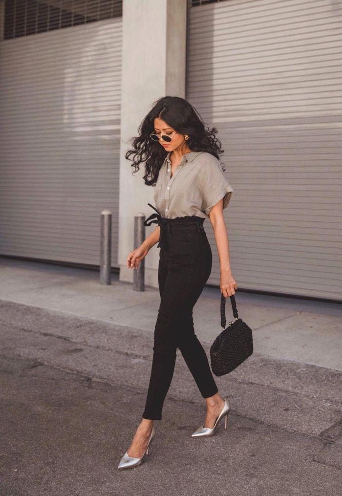 silberne highheels business outfit inspiration paperbag hose schwarz mit hohem bund beiges hemd ootd inspo