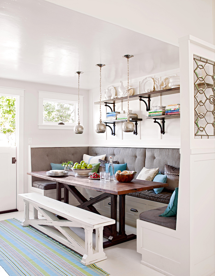 sitzecke esszimmer ideen großer esstisch aus holz weiße sitzbank wie soll ich meinen essbereich einrichten inspiration