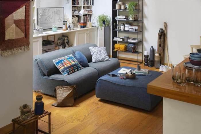 sofa mit hocker polsterhocker mit stauraum sessel mit polsterhocker blau wohnzimmer habitat design de möbel