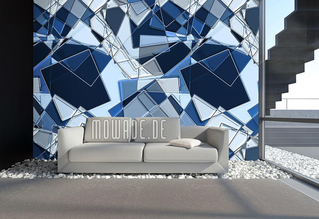 tapete 3d außergewöhnliche tapete für wohnzimmer tapete weiß mowade moderne geometrische tapete blau nuancen quadrate graues sofa teppich