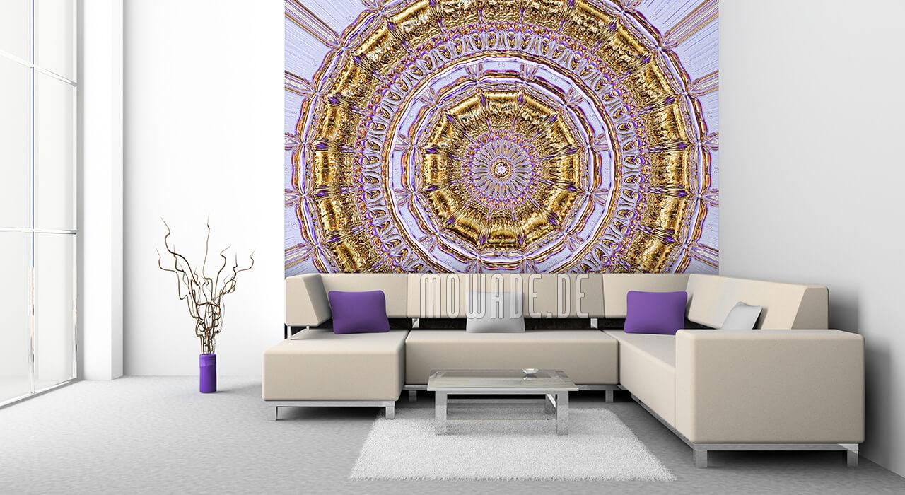 toom tapeten tapetenstudio außergewöhnliche tapete kaufen tapete3d modern tapeten design gold neo barock rosette mowade wohnzimmer weißes sofa lila kissen