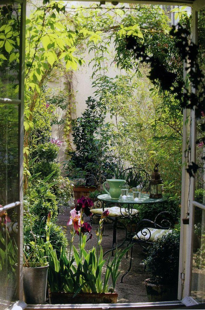 viele grüne pflanzen kleiner garten ideen einrichtung moderne gartenmöbel runder tisch schwarze stühle