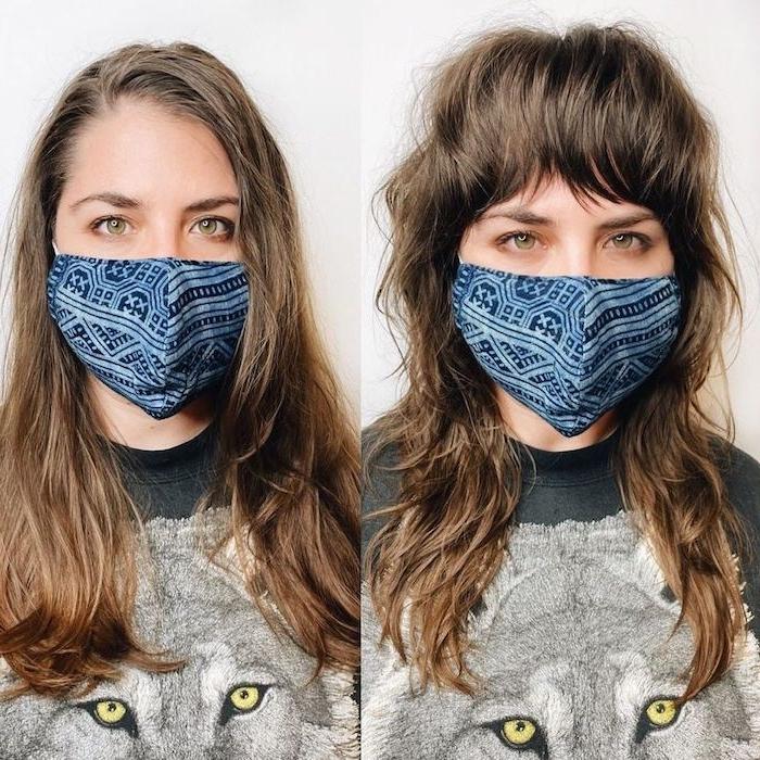 vorher nachher fotos frisur lange braune haare vokuhila frau 2021 ideen blau maske mundschutz