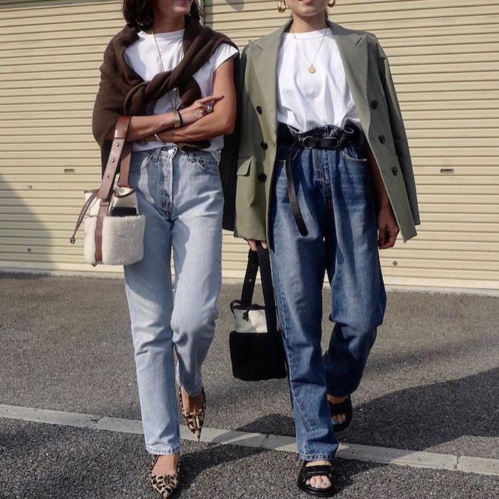 zwei frauen style inspo paperbag jeans damen weiße t shirts grüne oversized jacke spitze schuhe mit leoparden print