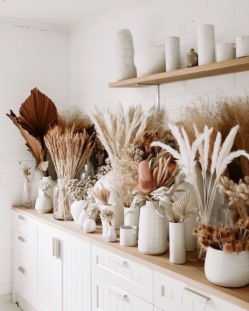 11 küche einrichtung modern vase mit pflanzen pampasgras deko
