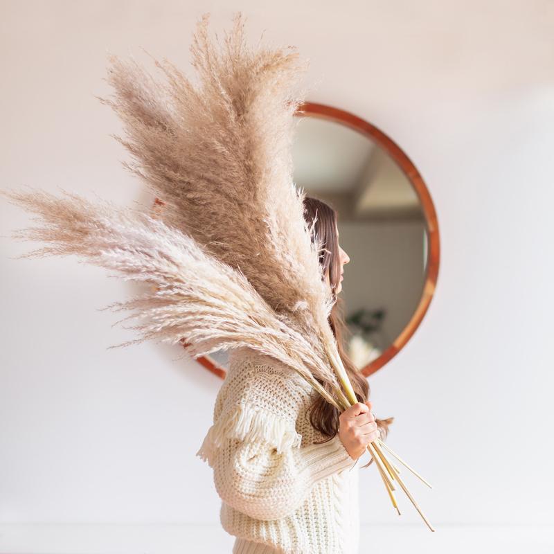 12 runder spiegel stylische dame pampasgras winterhart deko ideen