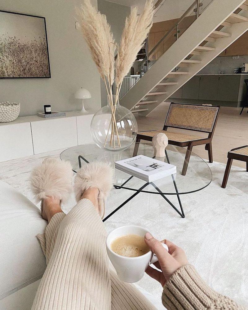 14 runde glasvase pampasgras deko ideen wohnzimmer