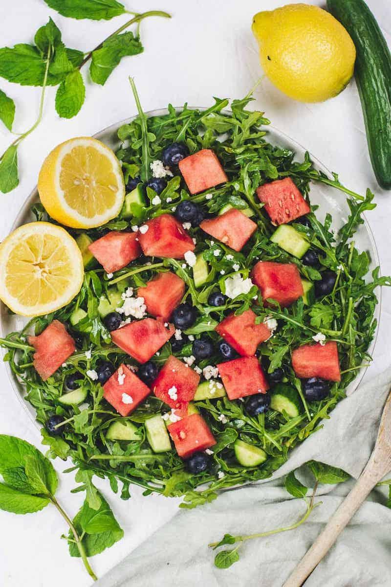 3 wassermelone feta salat balsamico mit blaubeeren