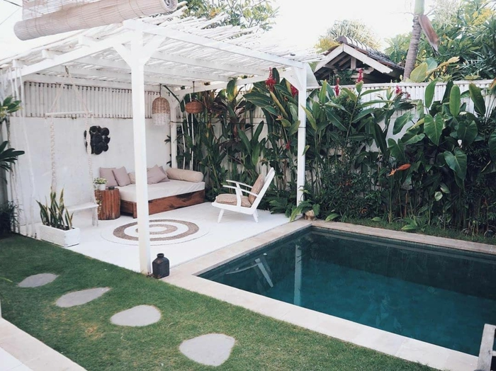 außeneinrichtung gartengestaltung inspo pool gestaltungsideen sonneschutz pergola moderne einrichtung gartenmöbel swimming pool garten