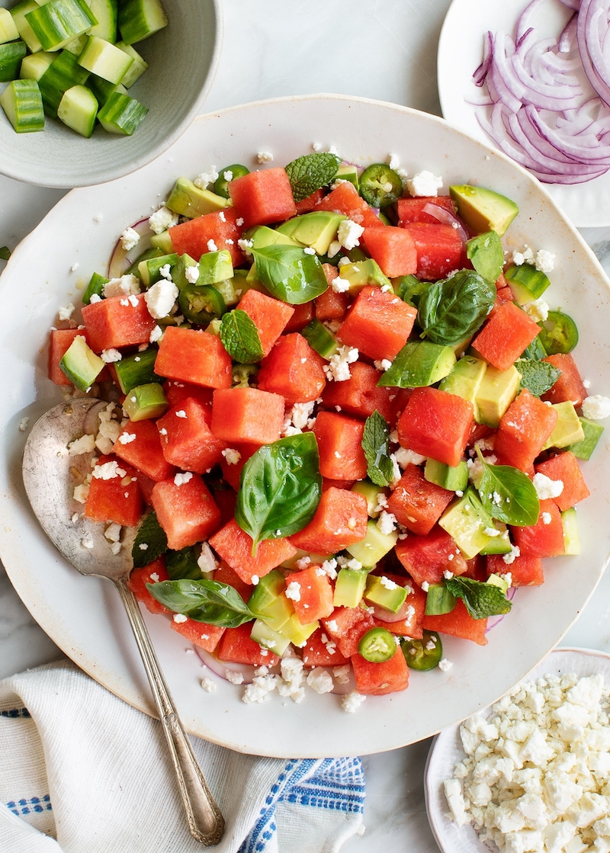 avocado minze spinat wassermelonensalat mit feta rezept