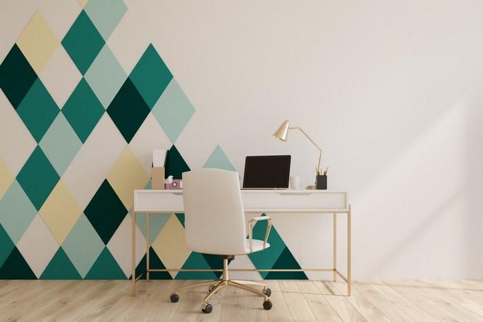 büro einrichten ideen home office schrebtisch büro gestalten ergonomisch und simpel ein schreibtisch mit schubladen bürostuhl weiß wandtapeten geometrisch grün gelb