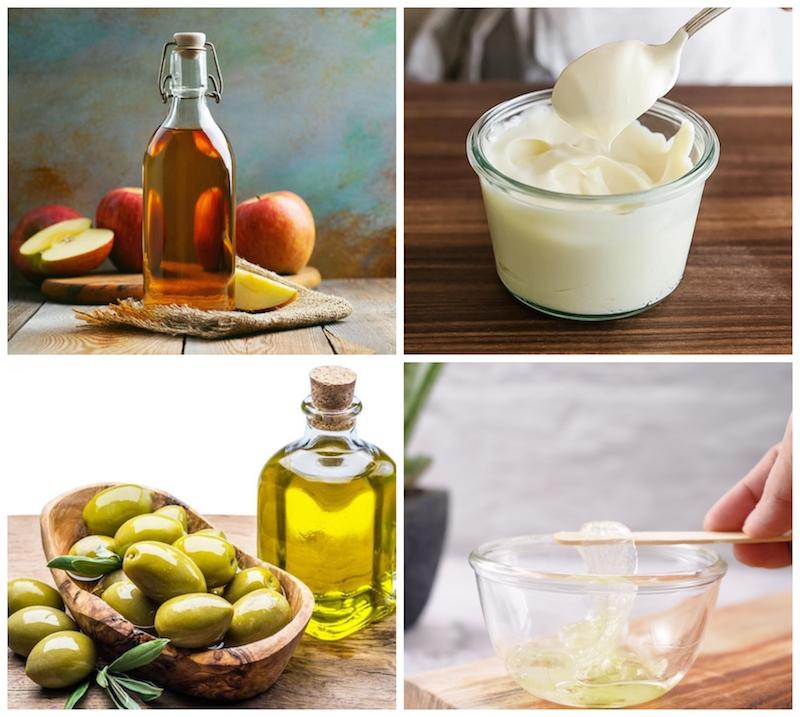 collage kopfläuse mit hausmitteln bekämpfen apfelessig olivenöl mayo aloe vera gel