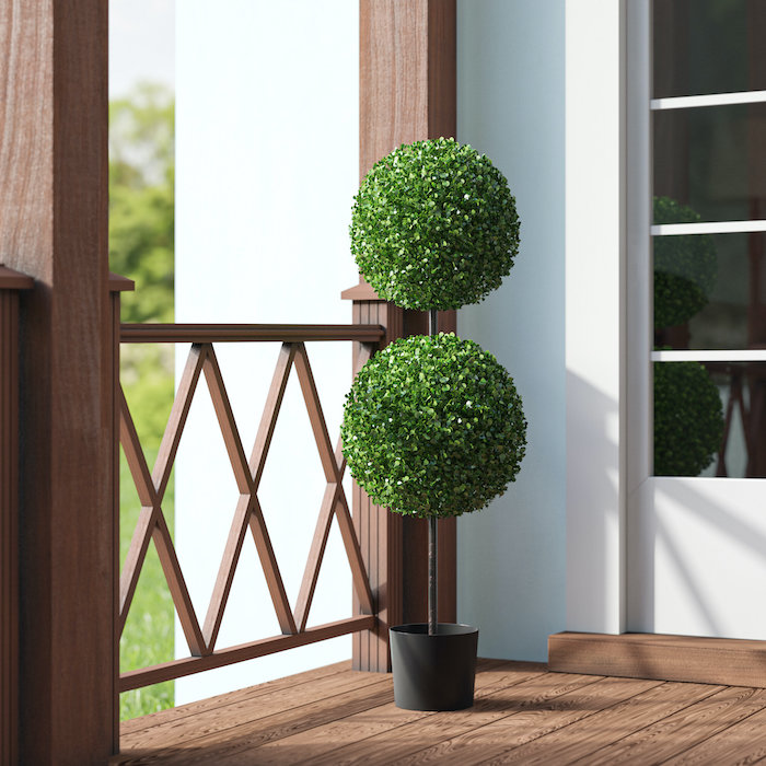 eine terrasse mit einem buchsbaum garten gestalten ideen