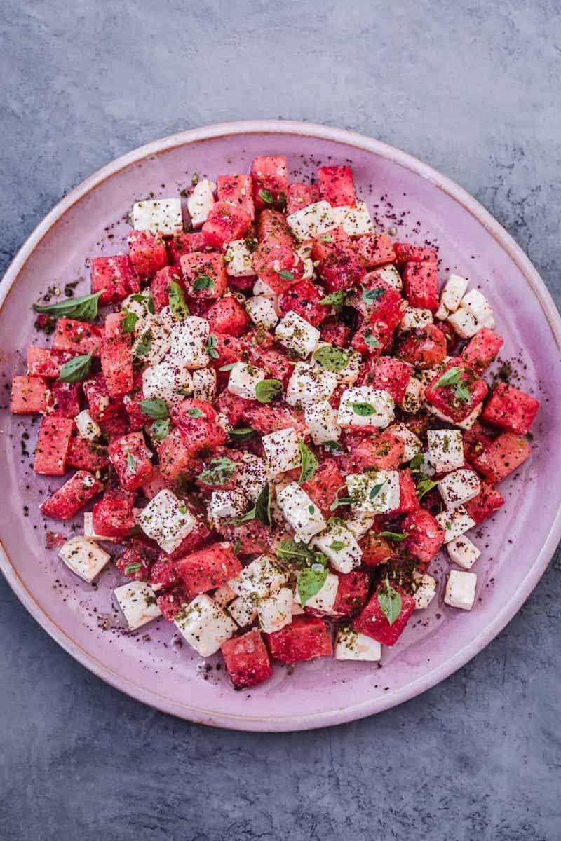 gesunde rezepte wassermelone feta salat balsamico rezept