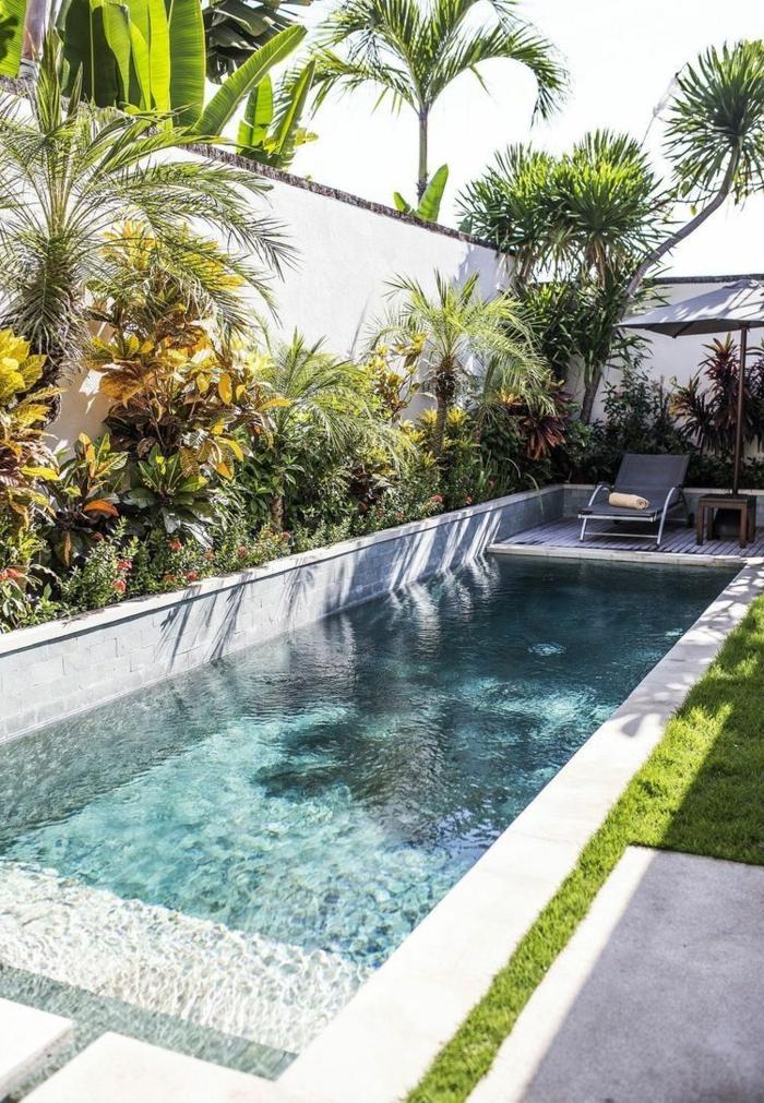 grüne pflanzen und bäume tropischen garten gestalten pool gestaltungsideen schwimmbad klein