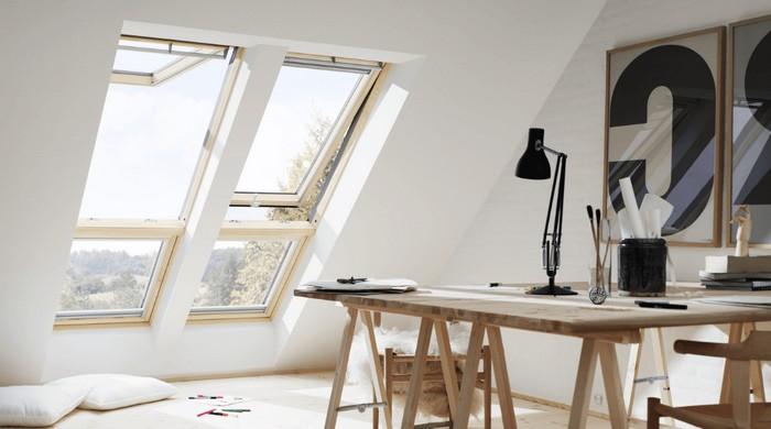 home office ausstattung büro einrichtungsideen kleines büro einrichten im dachgeschoss dirketes licht dachausbau gemütlich