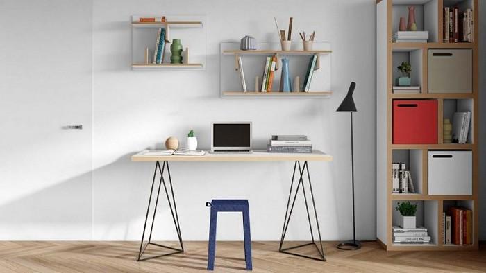 home office ausstattung home office einrichten büro im wohnzimmer gestalten schreibtisch zwei wandregale standregal kompakt