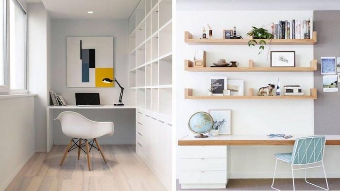 home office ausstattung schreibtisch einrichten büro ideen nische mit schreibtisch in weiß zweiter schreibtisch mit hängeregalen