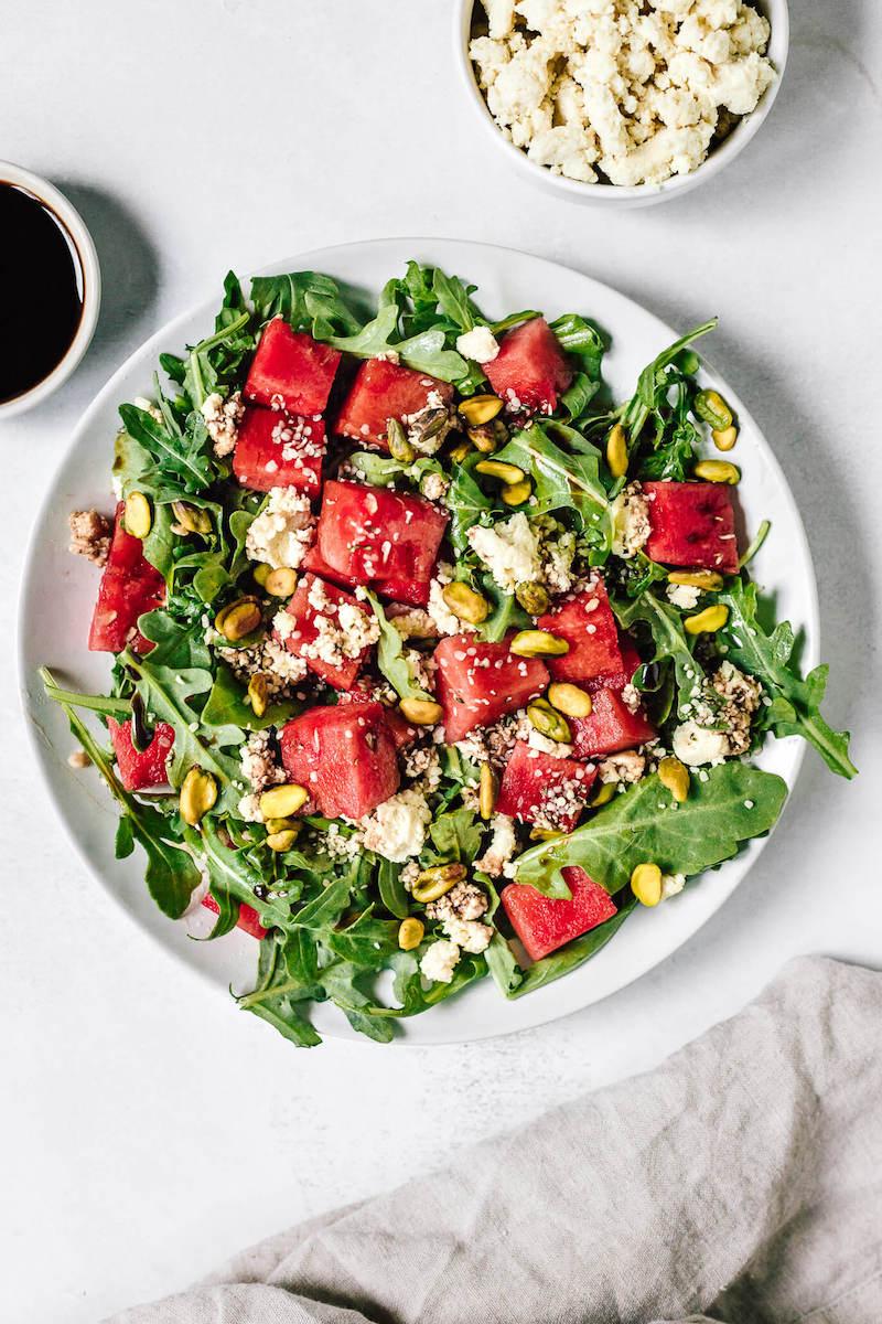 inspiration wassermelonen feta salat mit rucola und pistachien