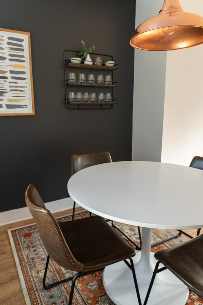 küchenstühle aus leder und stahl essbereich einrichten