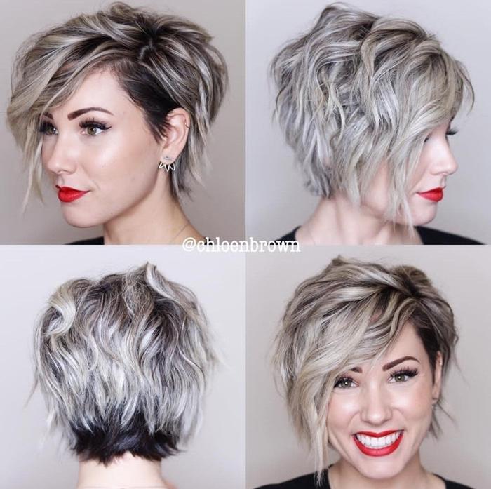 kurze haare locken pixite frisur ideen beispiele kurzhaarfrisur lockig graue haare mit dunklem ansatz