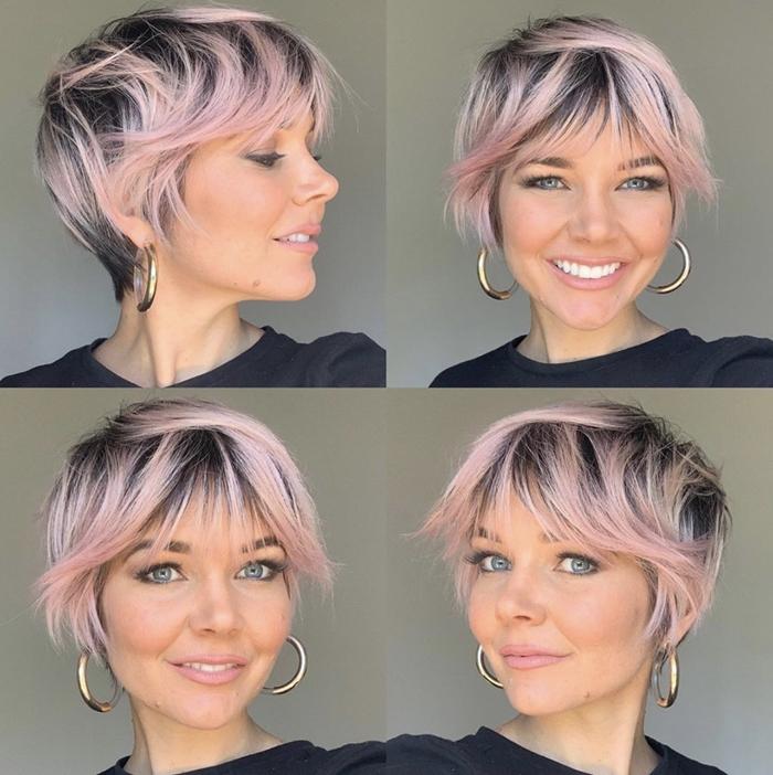 long pixie cut kurzhaarfrisur rosa haare mit schwarzem ansatz frisuren die junger machen