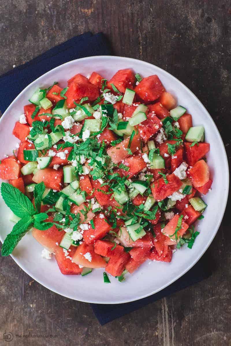 minze kräuter gurke feta wassermelone salat leichtes rezept