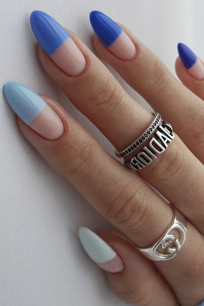 nails 2021 sommer ideen gelnägel ideen gelnägel nägel sommer 2021 farben blaue nägel french manicure in blauen töne ringe