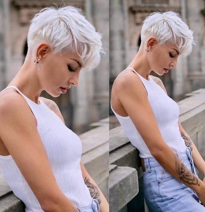 pixie cut mit locken weiße haare kurzhaarfrisuren für frauen haarfarbe platinblond