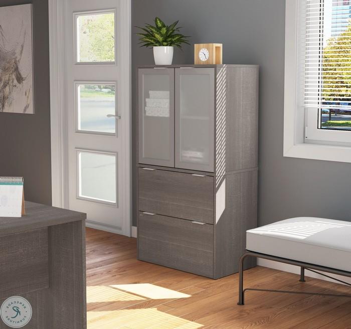 schreibtisch einrichten kleines büro einrichtungsideen schrank mit türen für dokumente organisieren home office ideen in grau