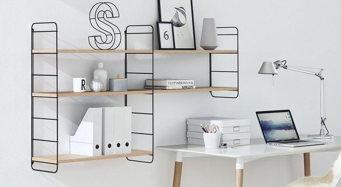 schreibtisch home office ausstattung büro ideen kleines büro einrichten hängeregalsystem aus holz und metal holzschreibtisch in weiß