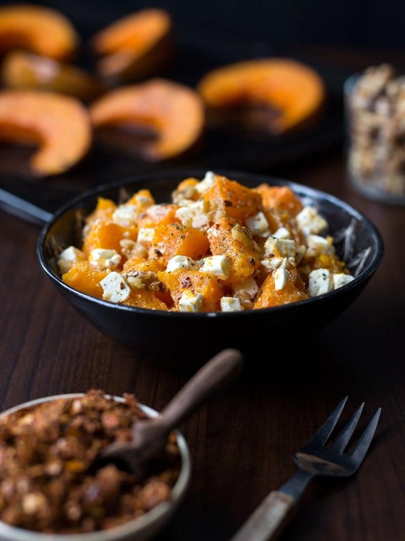 3 gerösteter kürbis mit feta käse und walnüssen kürbisgerichte