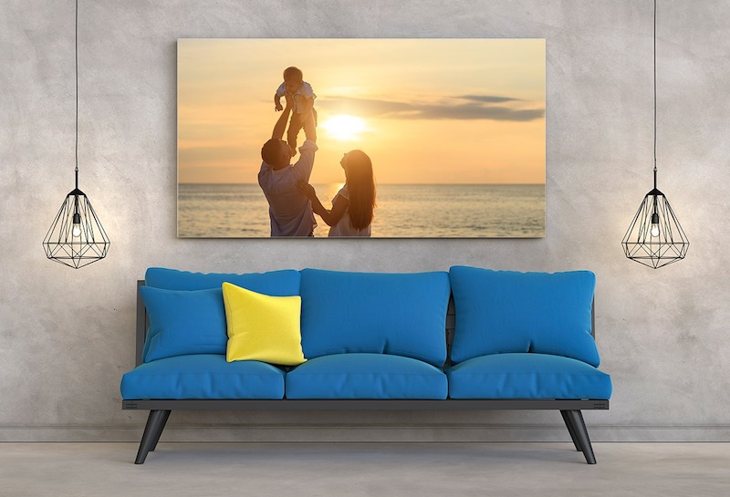 kreative wanddeko ideen foto aud leinwand blauer couch