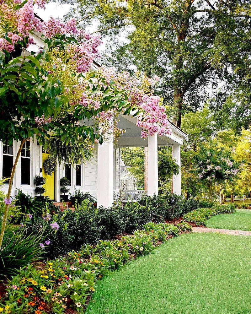 pflegeleichter vorgarten pinke blumen kleiner grüner baum weißes haus