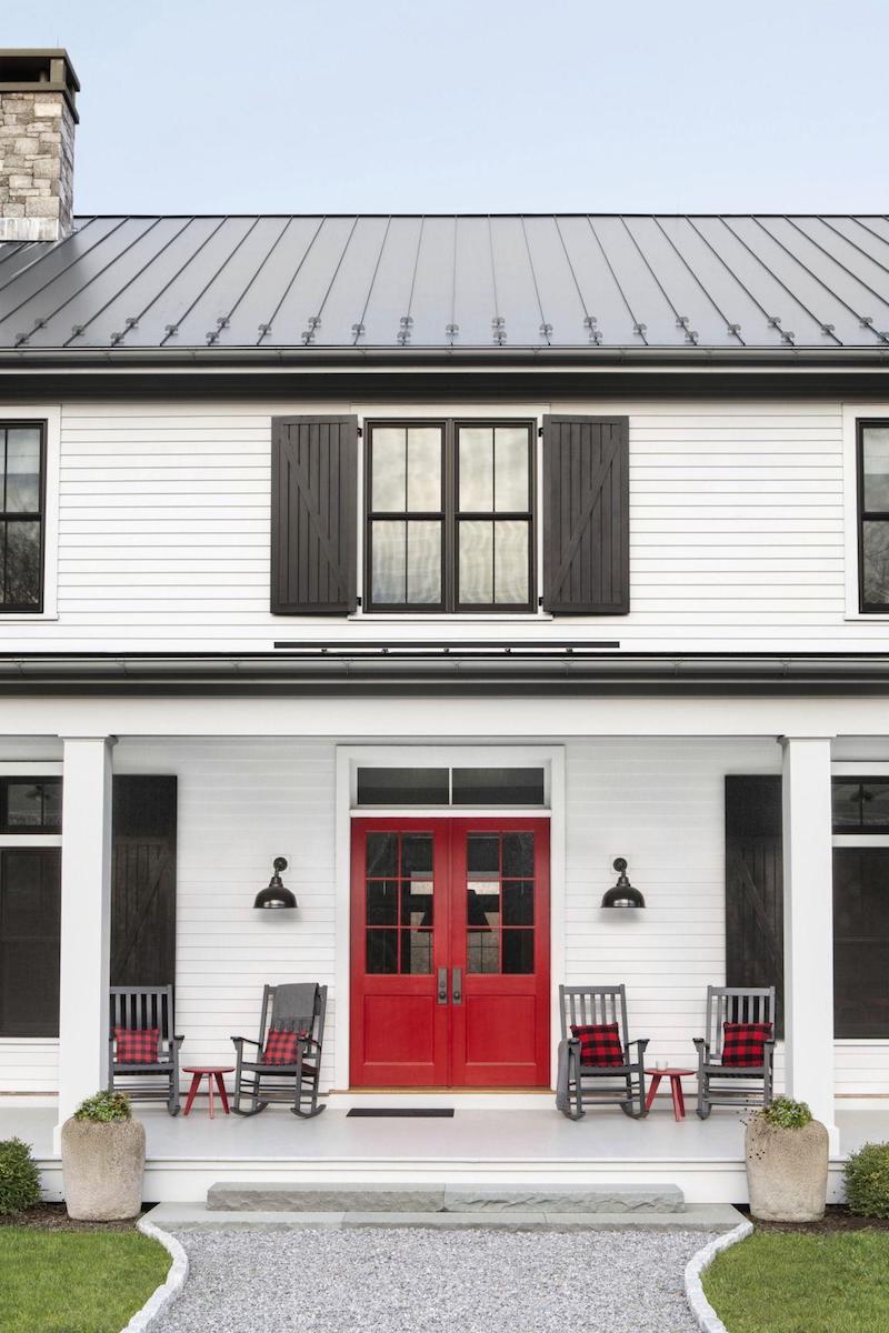 rote eingangstür weißes haus hauseingang vorgarten ideen