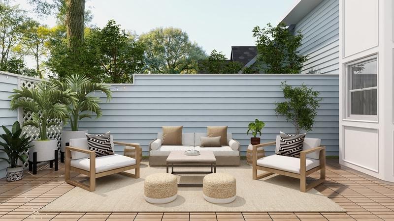 terrasse ideen günstig sichtschutz zaun außenbereich einrichten
