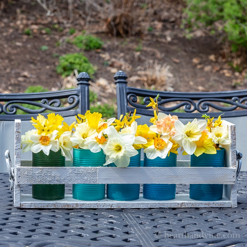upcycling ideen garten blumen vasen aus konservendosen