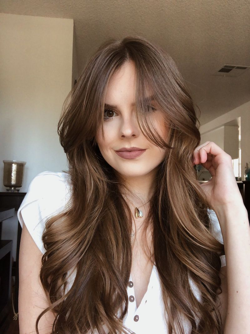 bangs haare selber schneiden lange braune haare gewellt