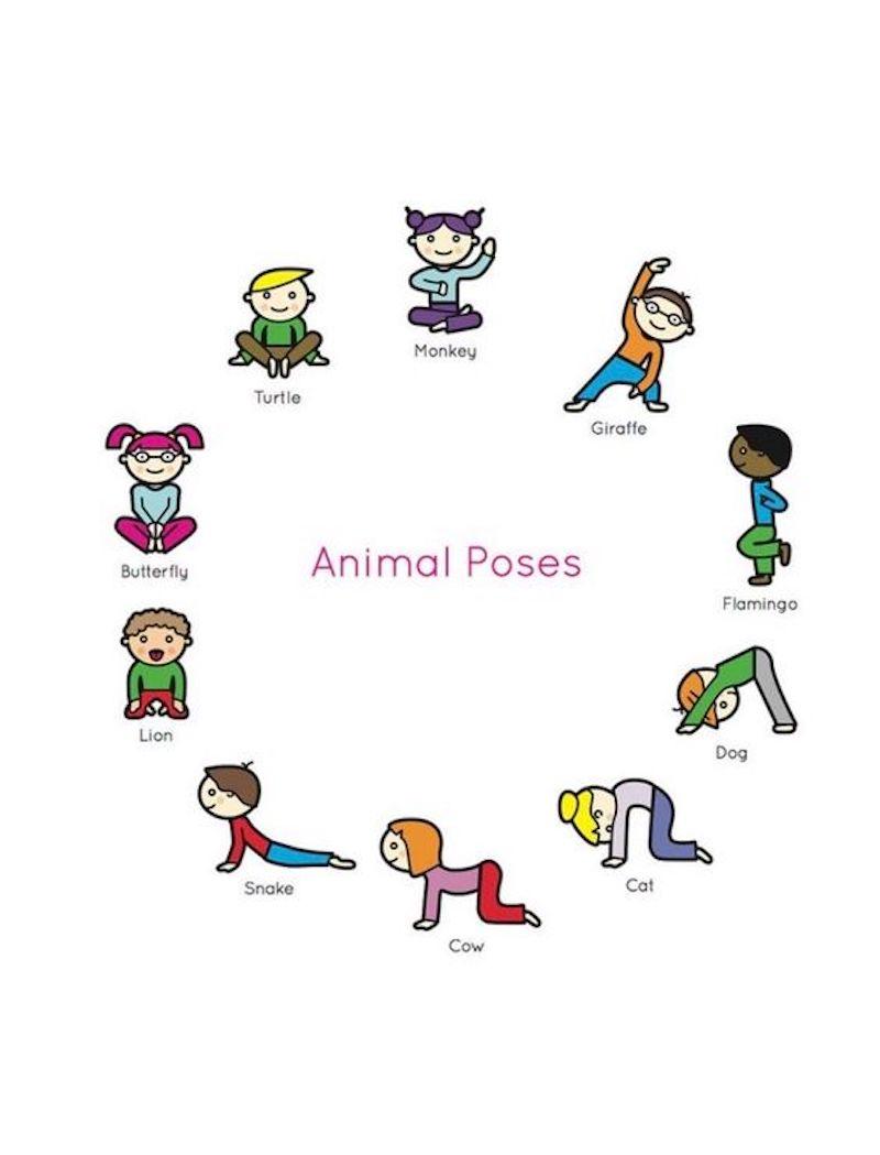 bewegungsübungen für kinder tierenpositionen illustriert mit kindern