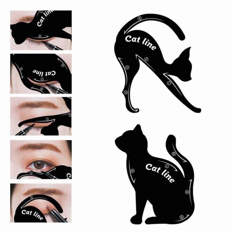 cat eye makeup lidstrich ziehen cat eye schablonen schwarze katzen